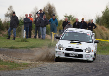 Phil competing in the Targa Rally NZ